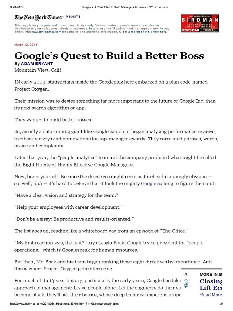 Libros Googles Googles Quest To Build A Better Boss Google Expert