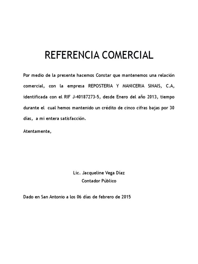 carta de referencias comerciales