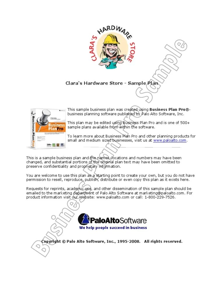 Clara S Hardware Store Sample Business Plan Retail Balance Sheet