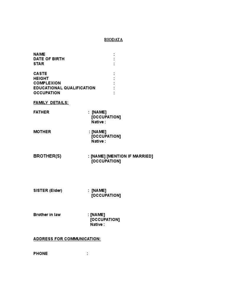 biodata form resume