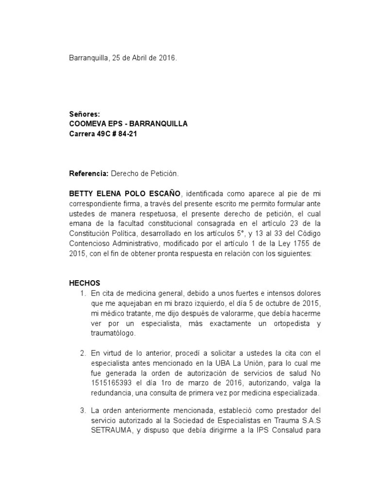 Cita Especialista Derecho De Peticion Sra Betty