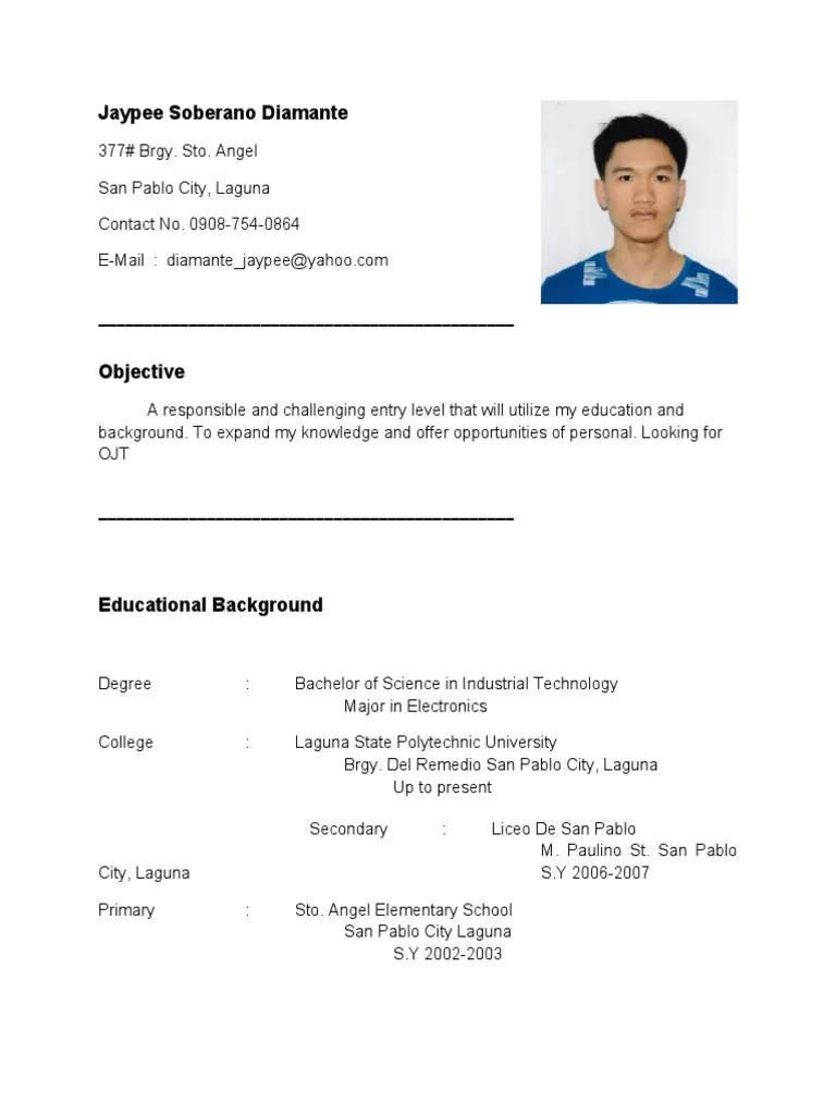 Personal Data Sheets And Resumes What You Need To Know As Resume For Ojt Im Looking For Ojt Company Im Electronics