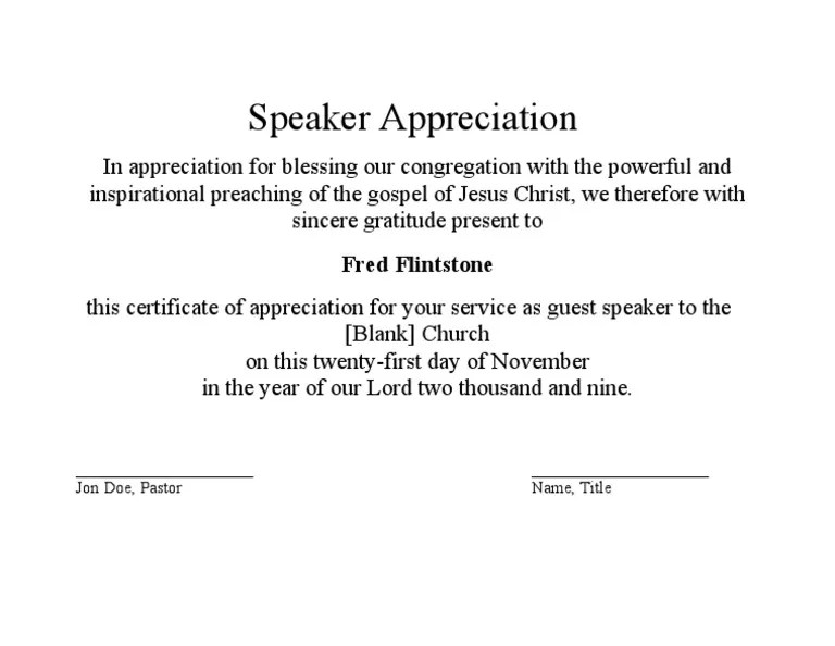 Sample of certificate of appreciation for guest speaker asafon sample of certificate of appreciation for guest speaker 50 professional free certificate yadclub Images
