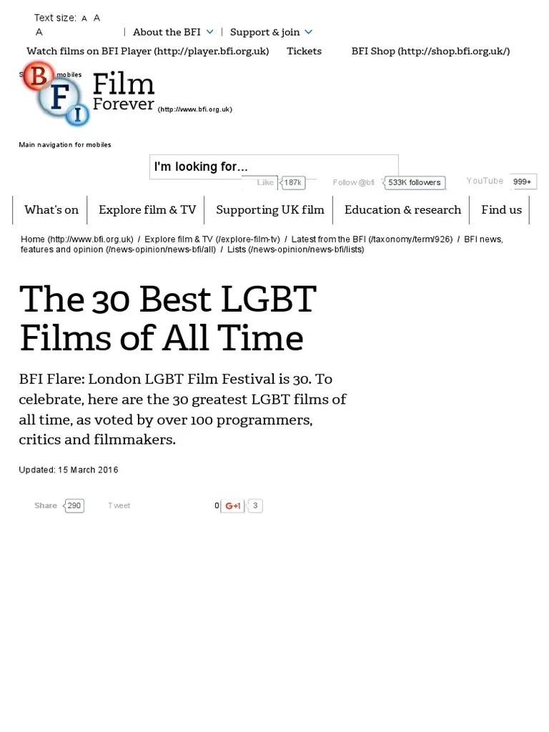 Arte Queer Pdf The 30 Best Lgbt Films Of All Time Bfi Pdf Cinema Leisure