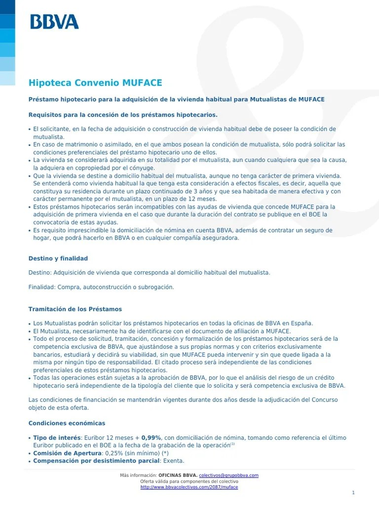 Condiciones Hipoteca Bbva Condiciones Hipoteca Convenio Muface