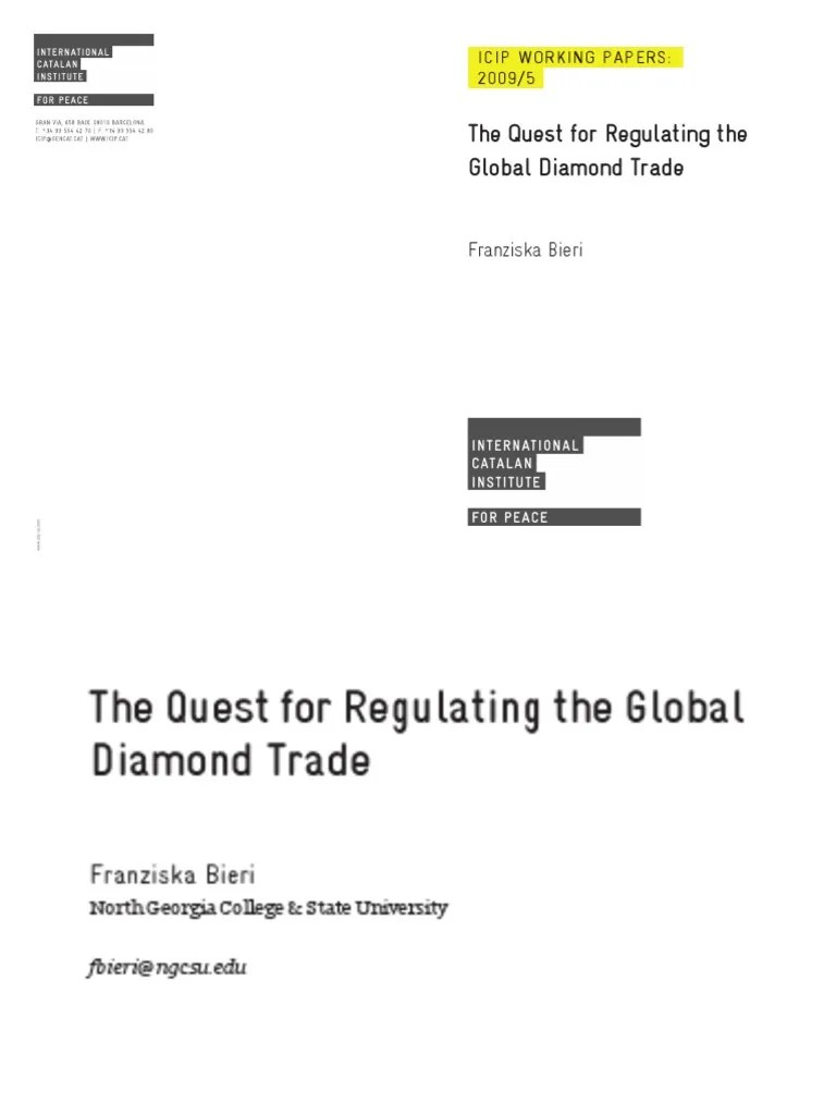 Blood Diamonds Libro 48 The Quest For Regulating The Global Diamond Trade Unita