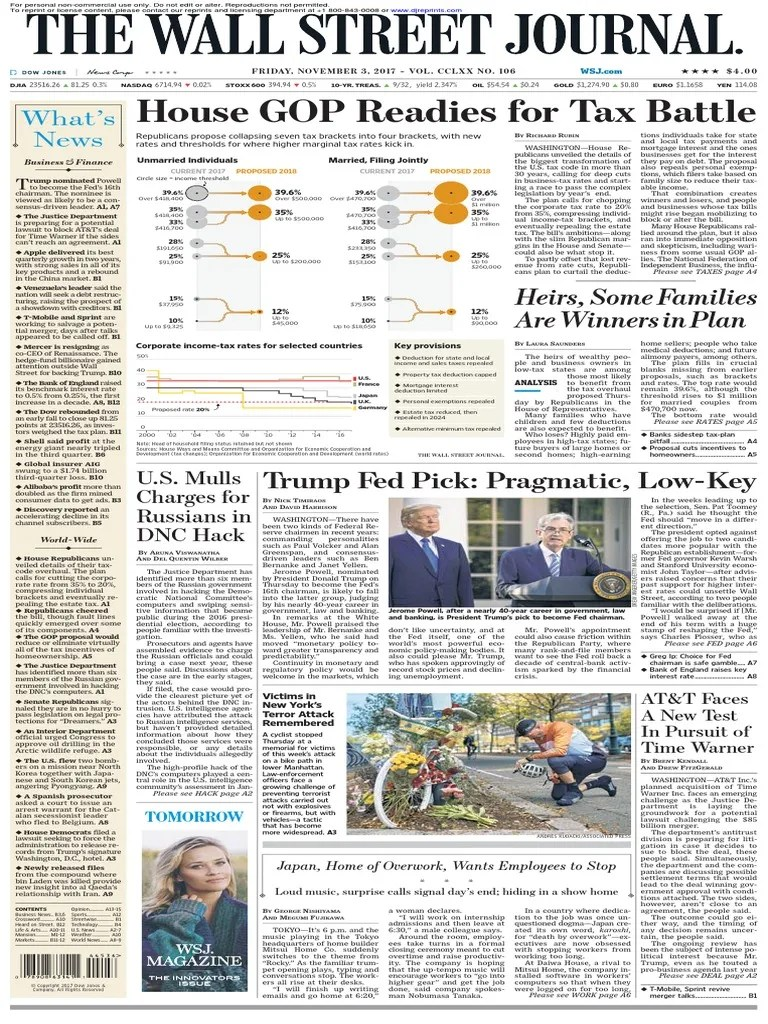Wallstreetjournal 20171103 Thewallstreetjournal Federal Reserve System Tax Deduction