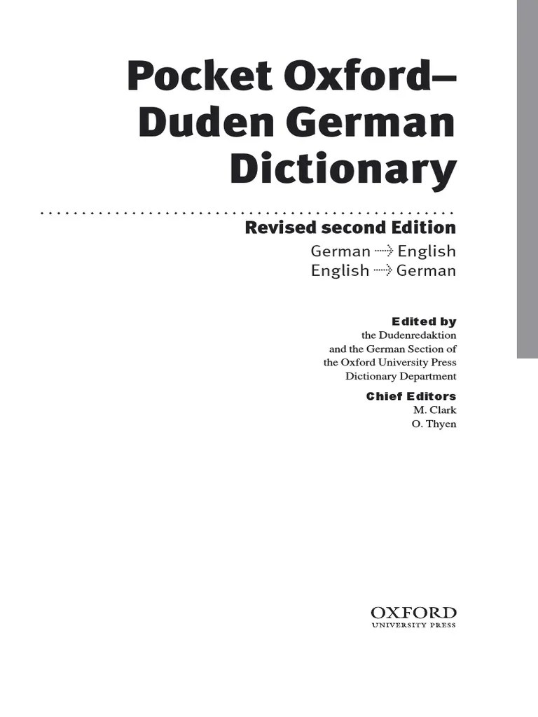 Pocket Oxford Duden German Dictionary Linguistics Grammar