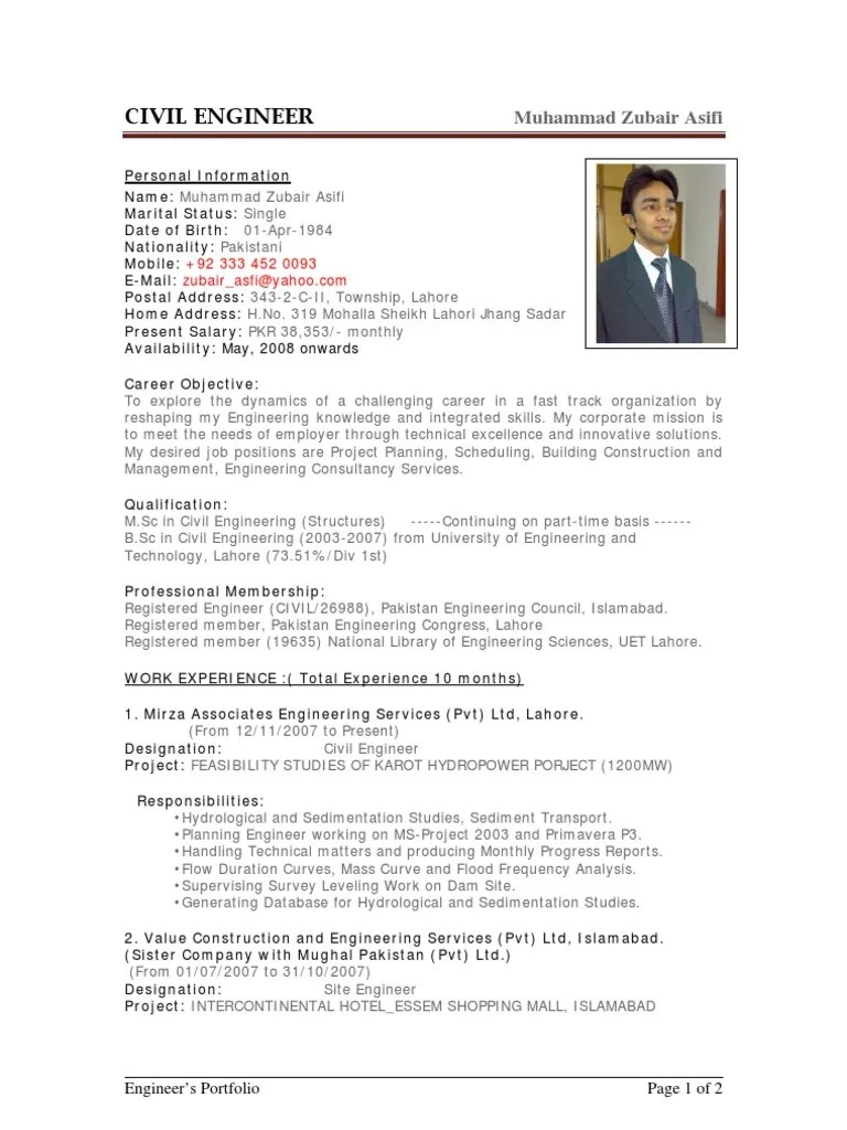 civil engineering cv examples