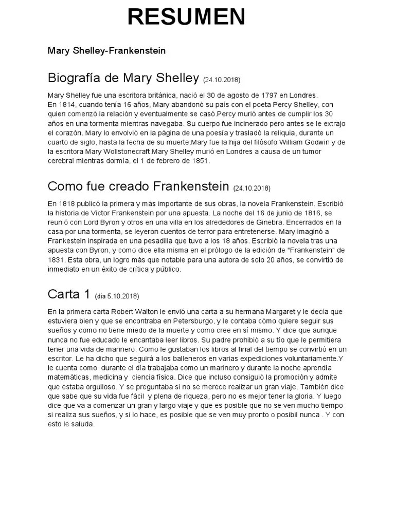 Resumen Del Libro Frankenstein Mary Shelley Frankenstein