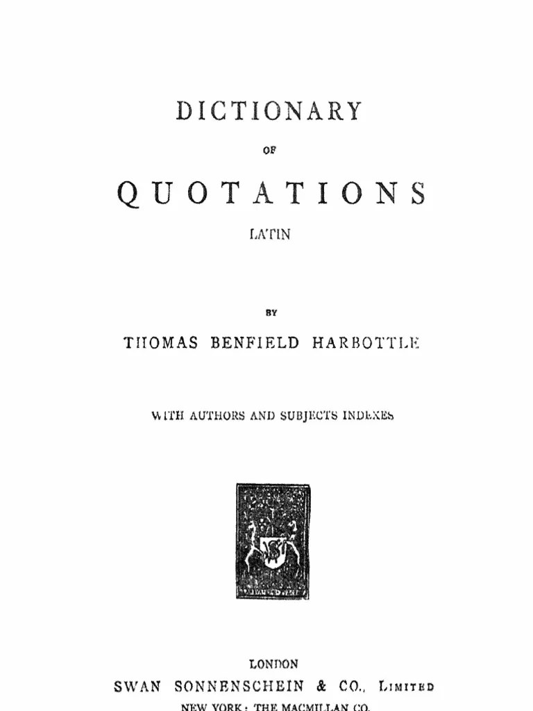 Arte Latin Translation Dictionary Of Quotations Latin By T B Harbottle