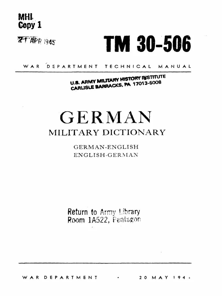 Tm30 506 German English Military Dictionary 1944 United States Department Of War American Government - Blackout Vorhang Definition