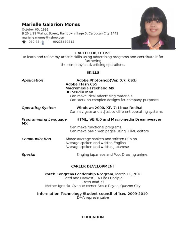 sample resume skills for ojt tourism students