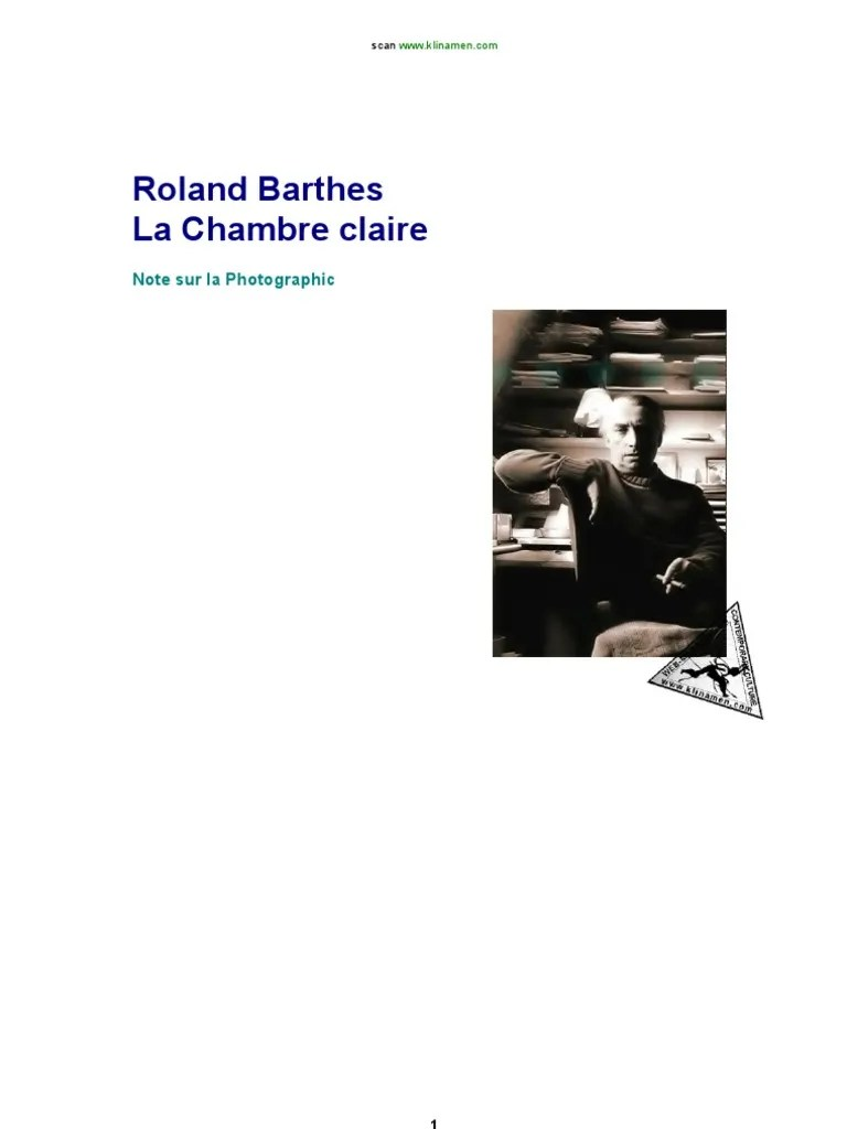 Barthes La Chambre Claire Barthes Camera Lucida