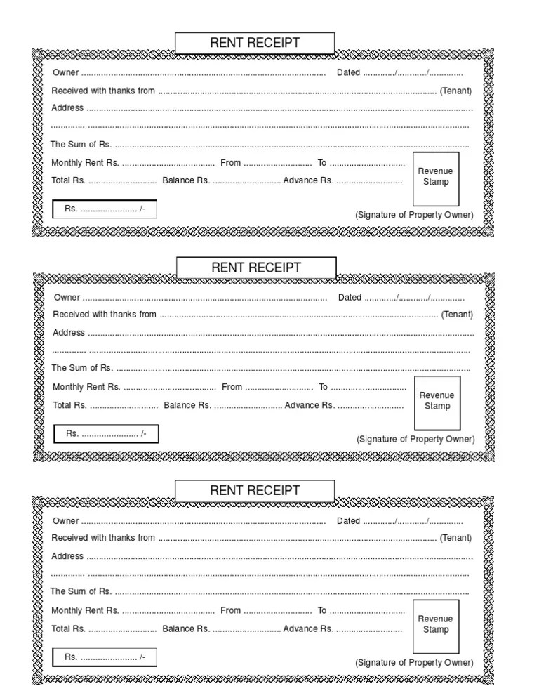 rent receipt format india for income tax