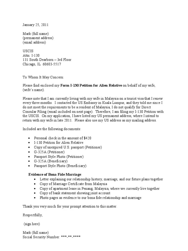 sample cover letter for i 130 petition