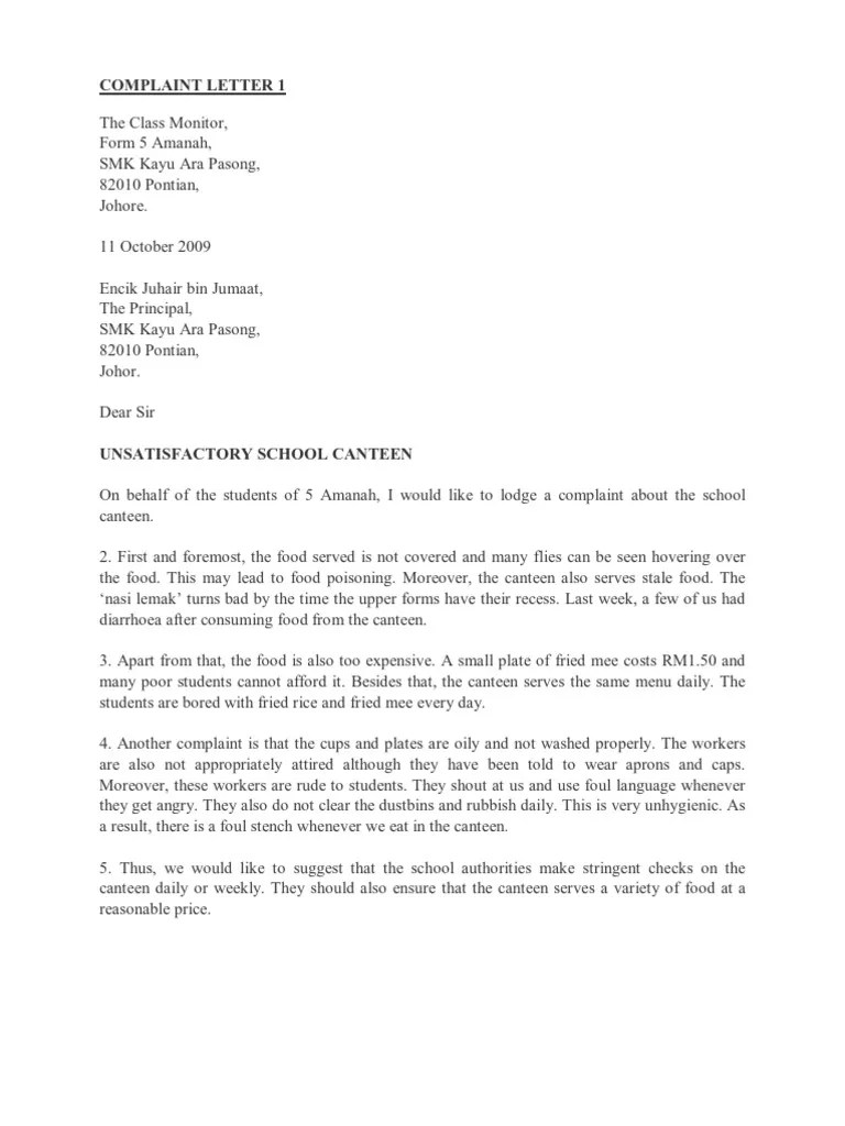 Sample Complaint Letter To Principal About Cyber Bullying Complaint Letter 1