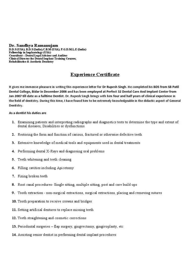 Experience letter dentist example good resume template experience letter dentist home ubc dentistry faculty of dentistry experience letter format spiritdancerdesigns Gallery