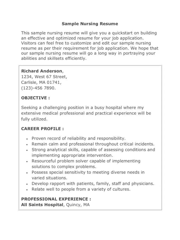 nursing resume sample objective