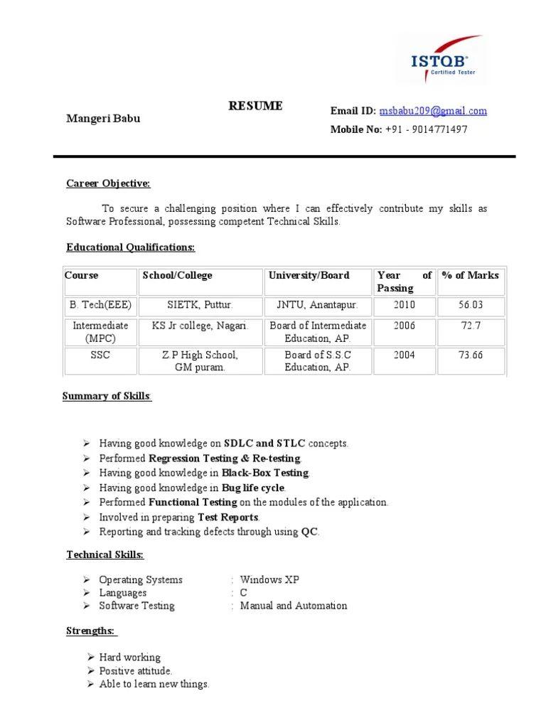 istqb sample resume