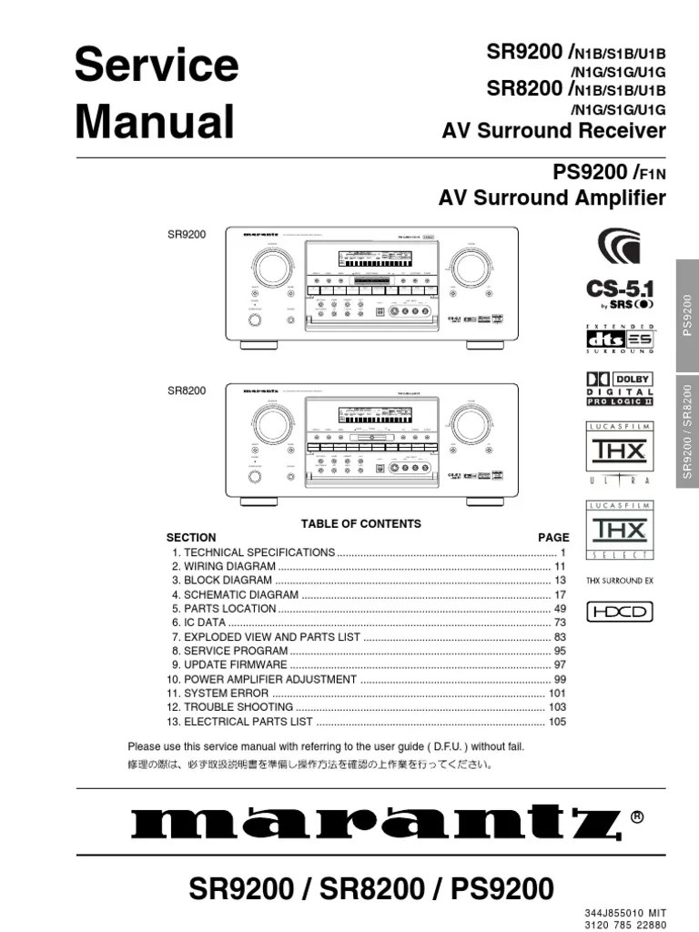 Jb Lighting P6 Bedienungsanleitung Marantz Sr8200 9200 Service Manual