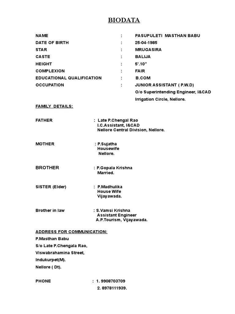 biodata format for marriage with photo