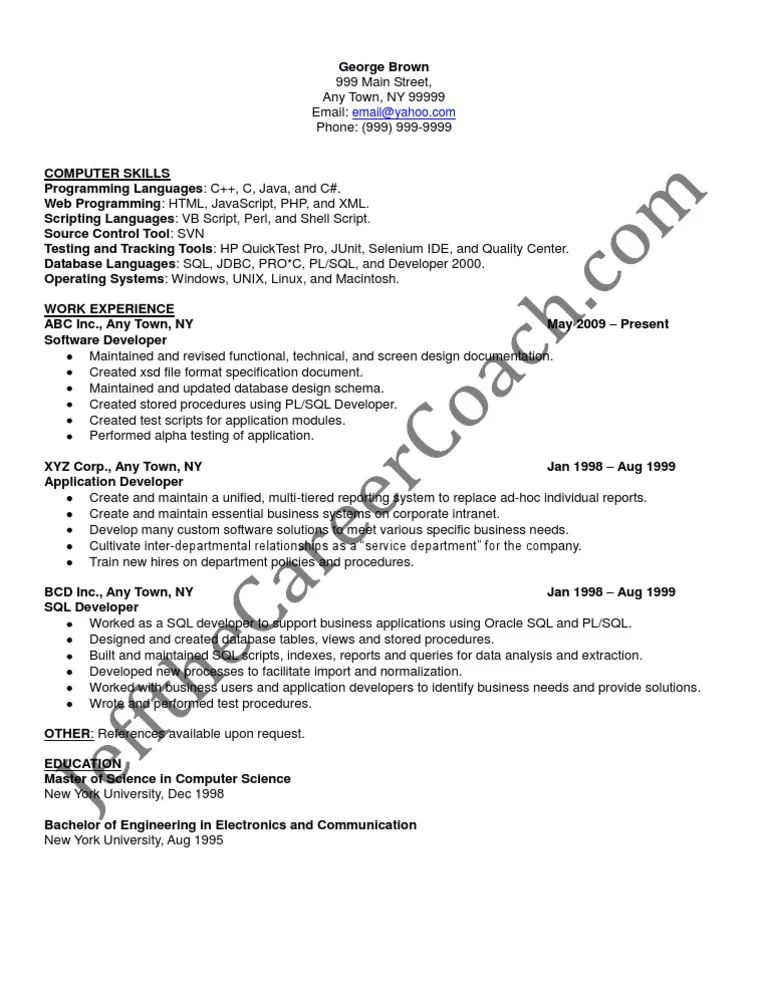 functional resume sample for software developer