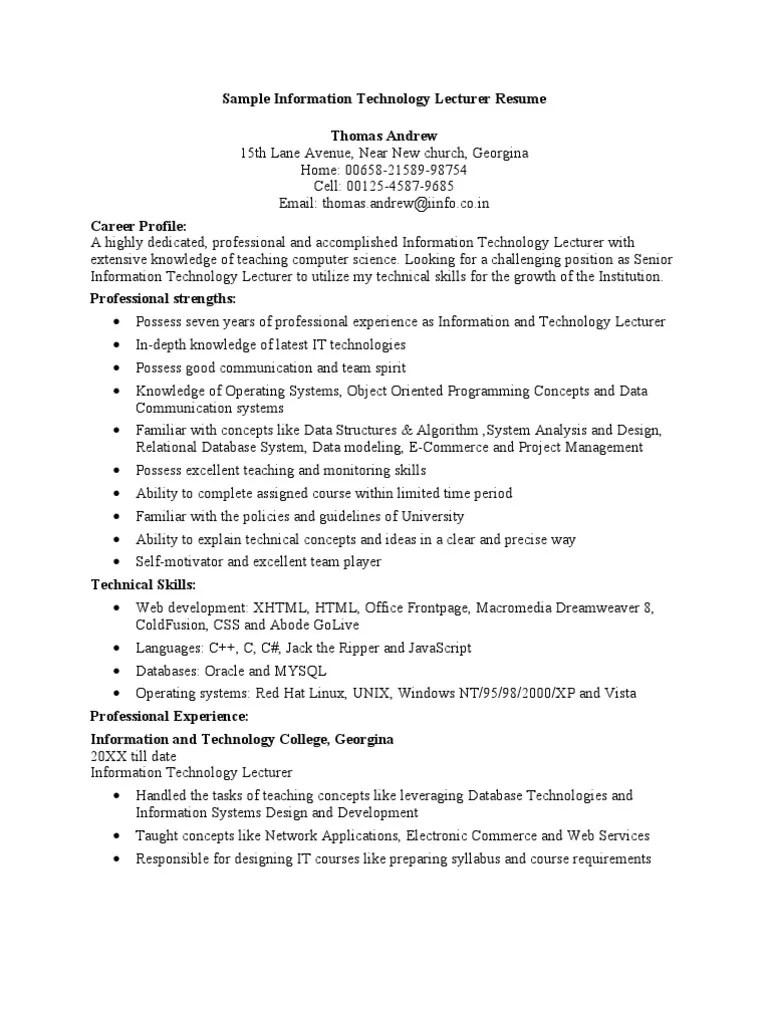 computer lecturer resume sample