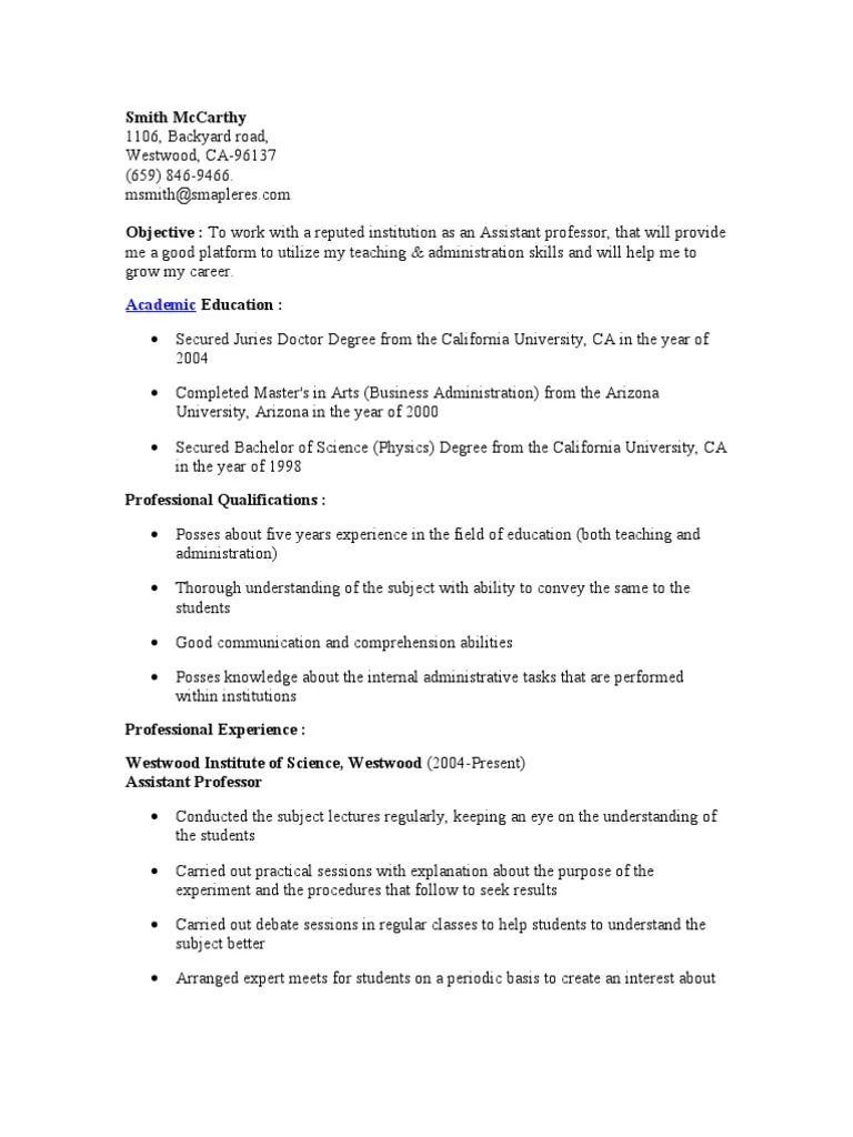 resume objective lecturer
