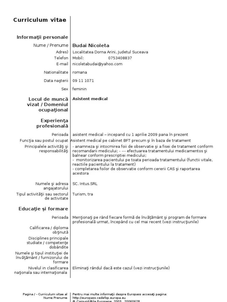 exemplu cv europass asistent medical