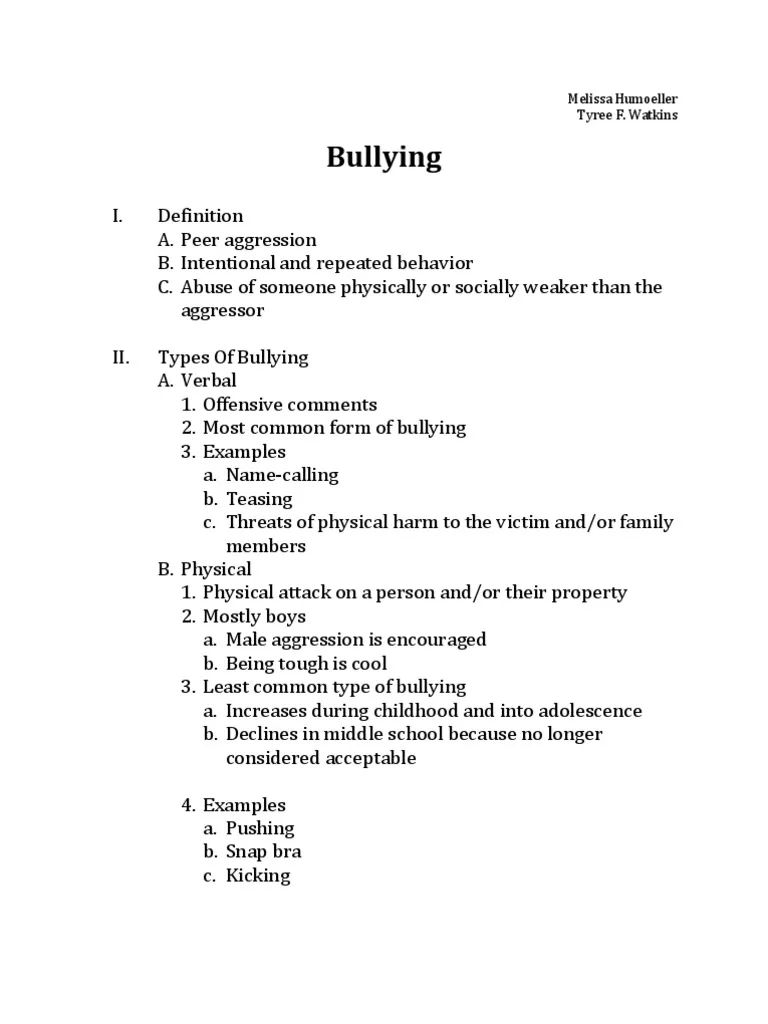 bullying essay examples