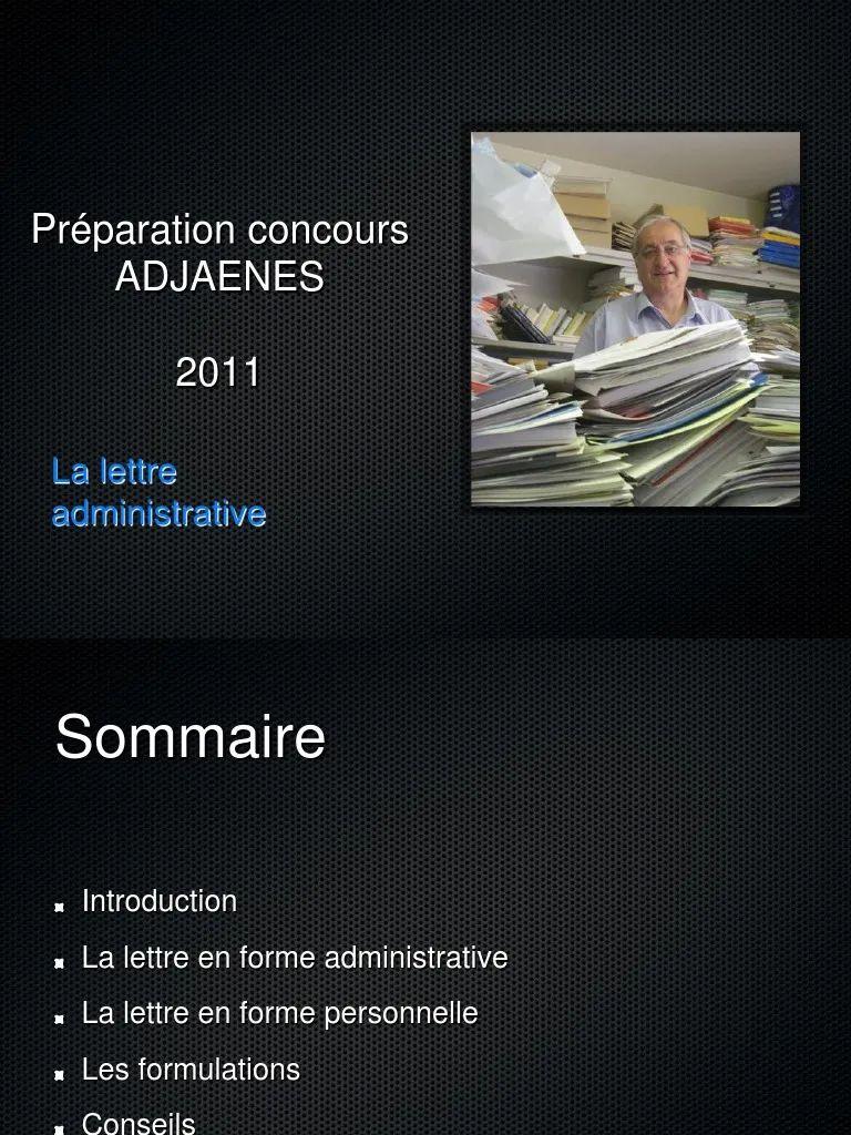 lettre administrative concours adjaenes