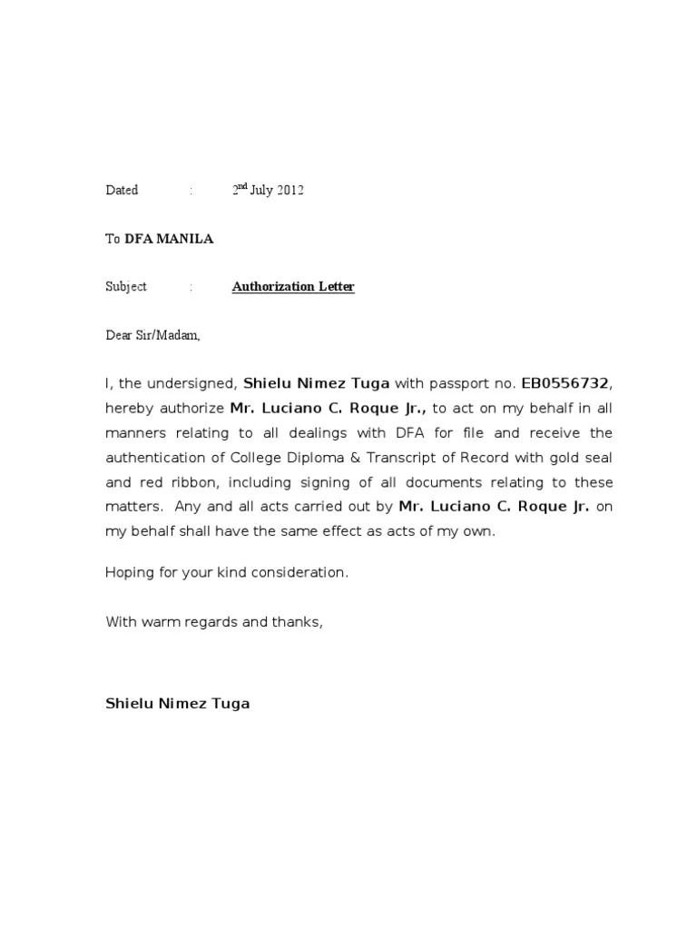 Authorization Letter Template Buzzle Authorization Letter Dfa