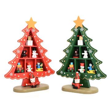DIY Cartoon Wooden Artificial Christmas Tree Decorations Wood Mini - mini christmas tree decorations