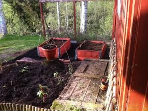 Ordning och reda. Här ska det snart växa jordärtskockor, sallad, gurka, solrosor, krasse och lite annat smått och gott.