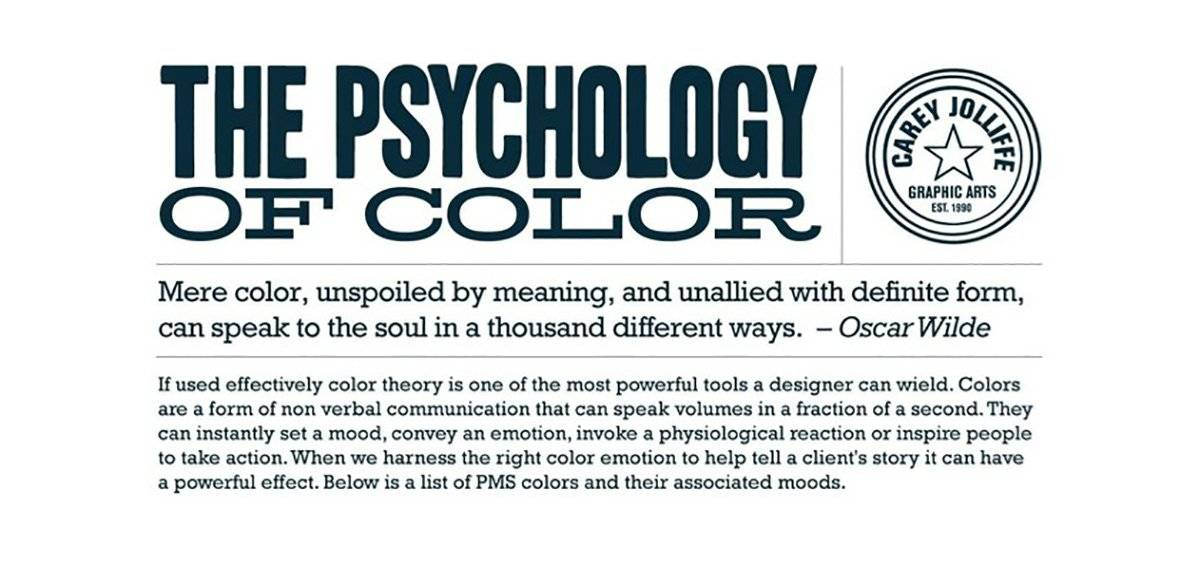 The Psychology of Color Chart  Their associated Moods in PMS Colours