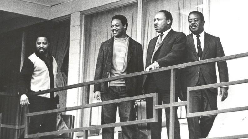 L to R - Hosea Williams, Rev. Jesse Jackson Sr., Rev. Dr. Martin Luther King Jr., Rev. Ralph Abernathy