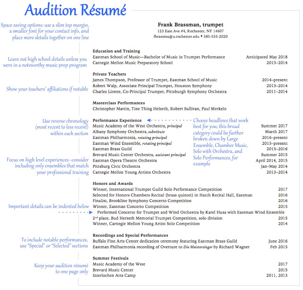 performer resume sample