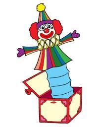 Disegno di Pagliaccio nella Scatola a colori per bambini