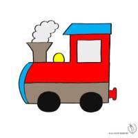 Disegno di Treno a Vapore a colori per bambini