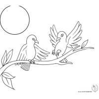 Disegno di Uccelli sull'albero da colorare per bambini