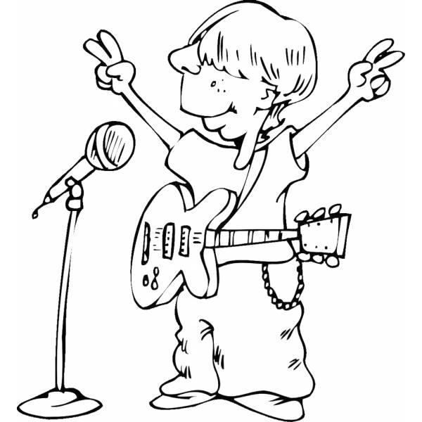 Disegno Di Cantante Con Chitarra Da Colorare Per Bambini