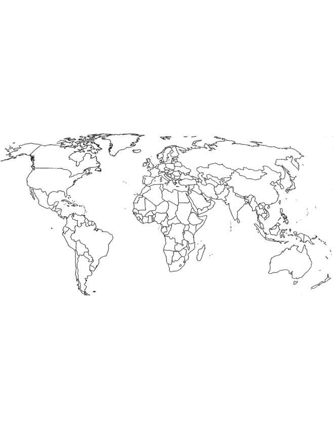 Disegno di Cartina Politica Mondo da colorare per bambini