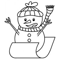 Disegno di Pupazzo di Neve in Slitta da colorare per ...