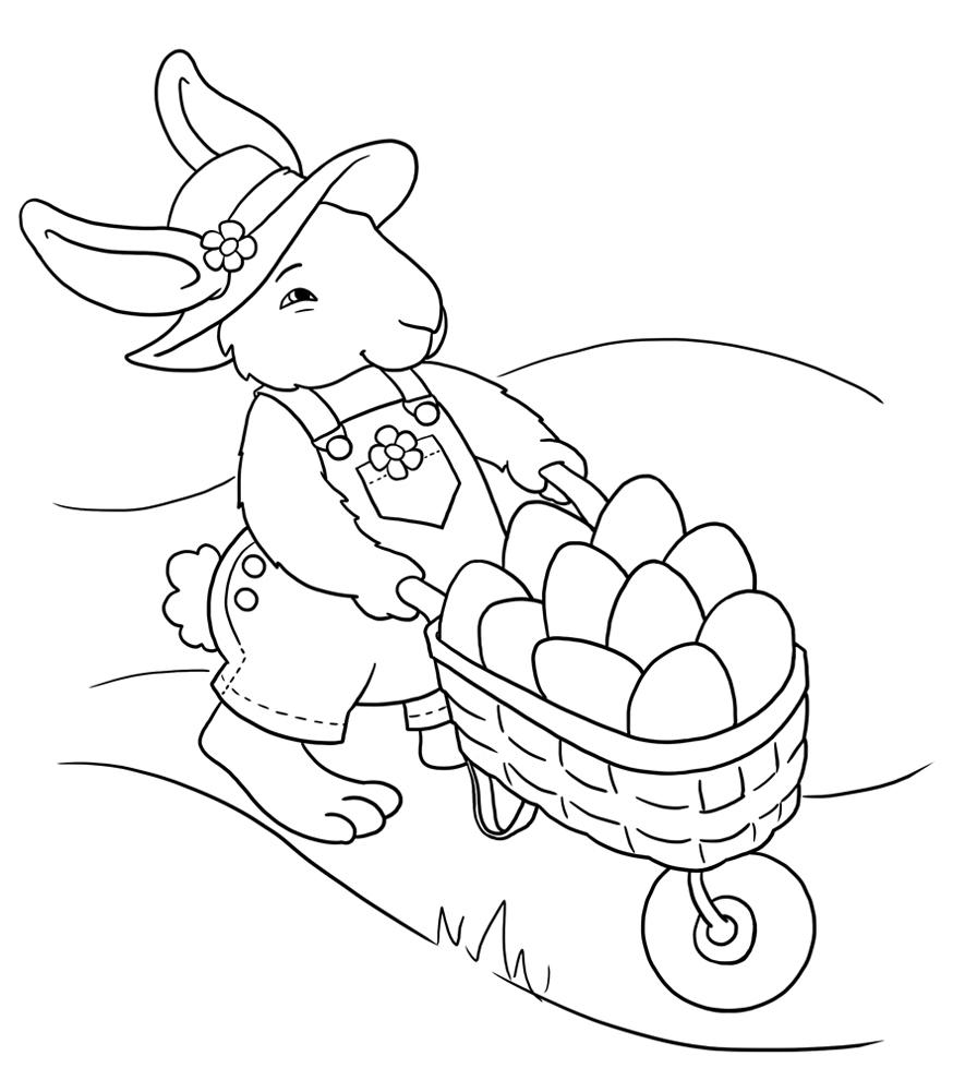 Stampa Disegno Di Coniglio Con Uova Di Pasqua Da Colorare