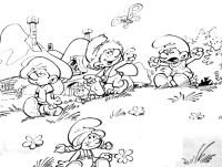 Stampa disegno di Il Villaggio dei Puffi da colorare