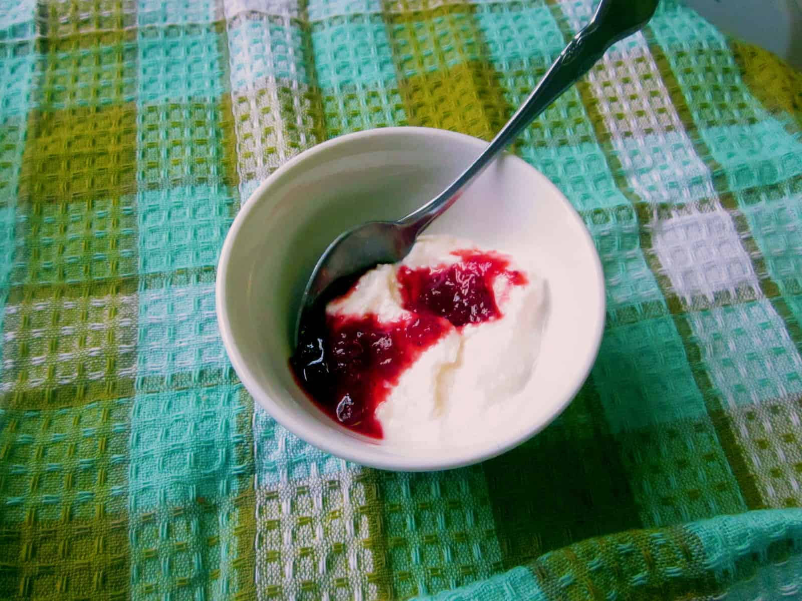lactose-free yogurt and jam