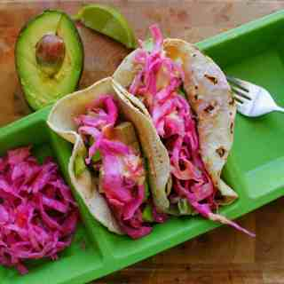 Spicy tofu tacos with avocado and Russian sauerkraut