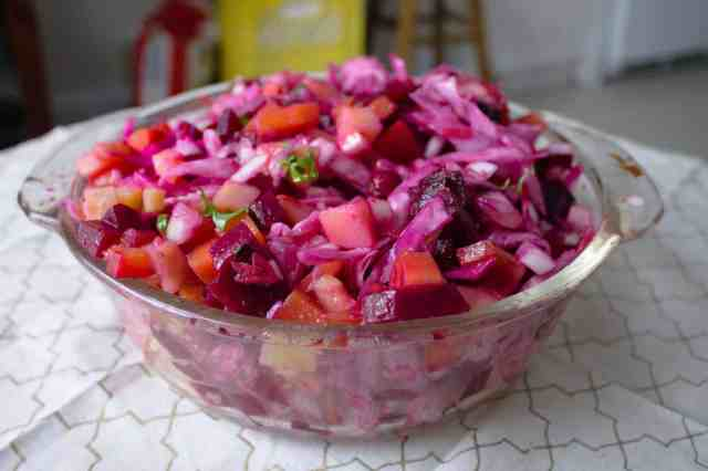 Russian root vegetable salad is ready
