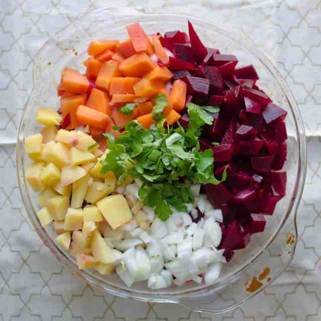 Russian root vegetable salad aerial view